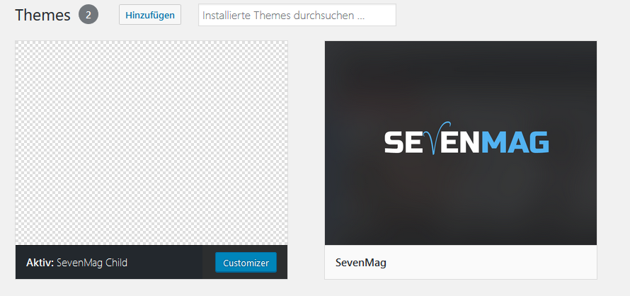 WordPress Child Theme ohne Screenshot