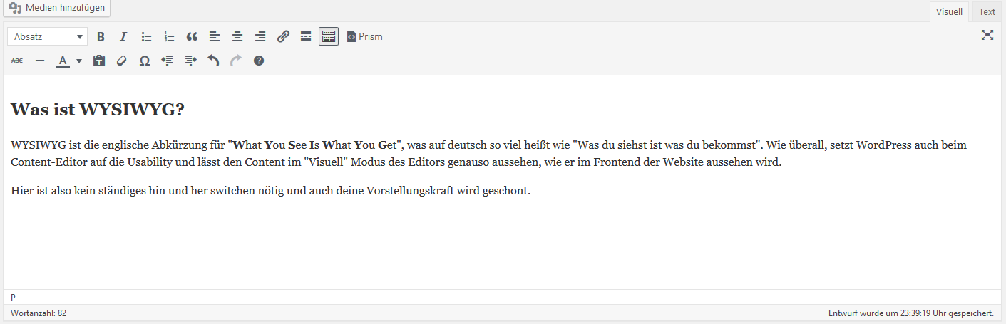 Der WYSIWYG-Editor