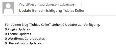 WordPress Update Benachrichtung E-Mail