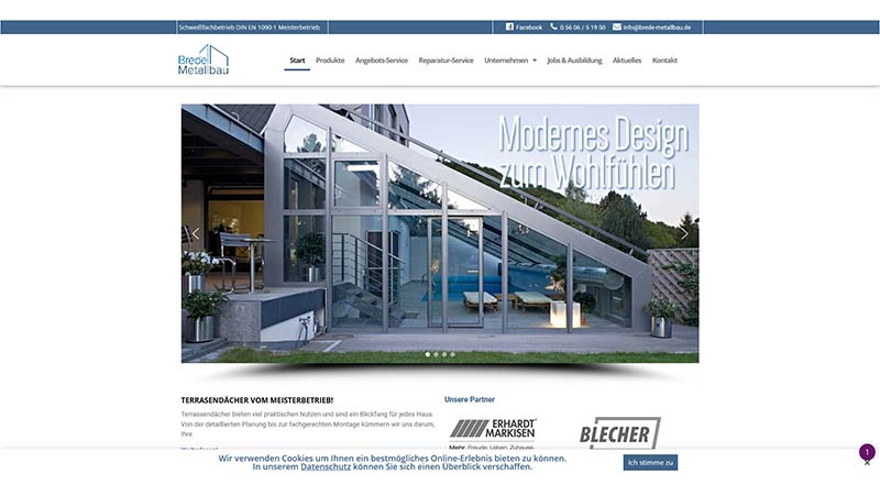 Website der Firma Brede Metallbau