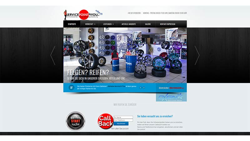 Website des Servicepoints